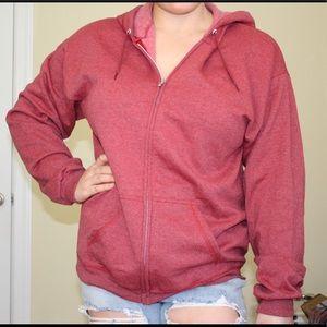 Men's red zip up jacket